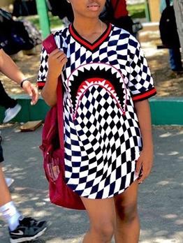 V Neck Checker Half Sleeve One Piece Dress