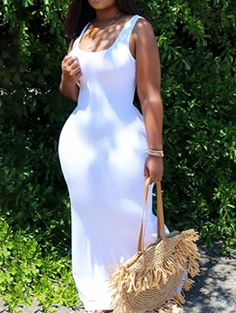 Leisure Solid Sleeveless Summer Maxi Dresses