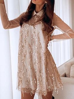 Loose Turndown Collar Sequins Tassels Ladies Dress