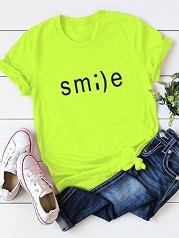 Smile Letter Cotton Cheap T Shirt Plus Size