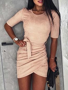 Simple Style Tie-Wrap Short Sleeve Tee Dress