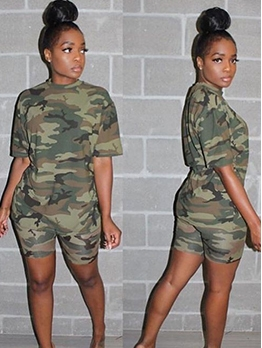 Crew Neck Short Sleeve Camouflage Two Piece Sets