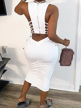 Cut Out Solid Zipper Up Sleeveless Maxi Dress