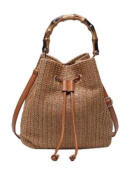 Stylish Straw Bamboo Handle Drawstring Crossbody Bags