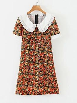 Doll Collar Short Sleeve Floral A-Line Dress