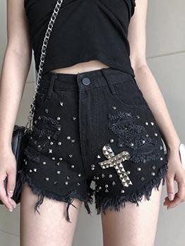 Rivets Cross Tassel Edges Black Denim Shorts