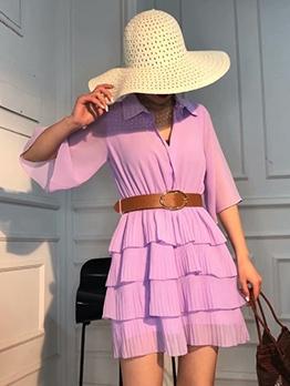 Single-Breasted Purple Chiffon Layered Dress