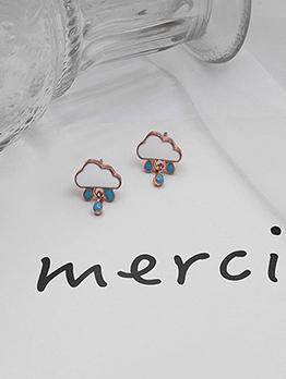 Cute Style Raindrops Cloud Small Stud Earrings
