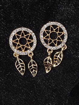 Dreamcatcher Tiny Rhinestone Short Earrings Online