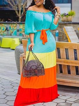 Contrast Color Off The Shoulder Maxi Dress