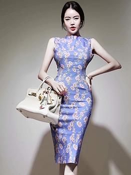 Elegant Flower Printed Sleeveless Bodycon Dress