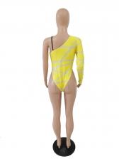 Contrast Color Single Sleeve Bodycon One Piece Swimsuit