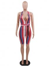 Sexy Multicolored Striped Tie Wrap Bodycon Romper