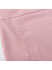 Solid Color Lace Up Buttom Pencil Pants