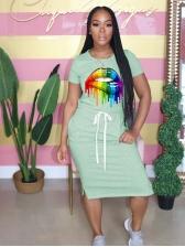 Casual Colorful Lip Printed t Shirt Dress