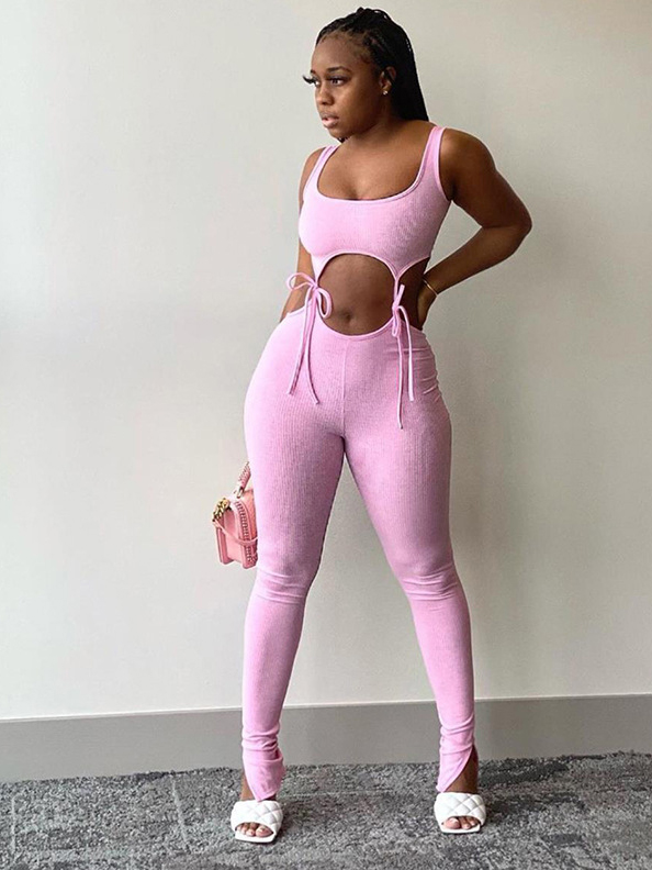 Lace-Up Skinny Two Piece Tracksuit Set, U Neck, Solid Color