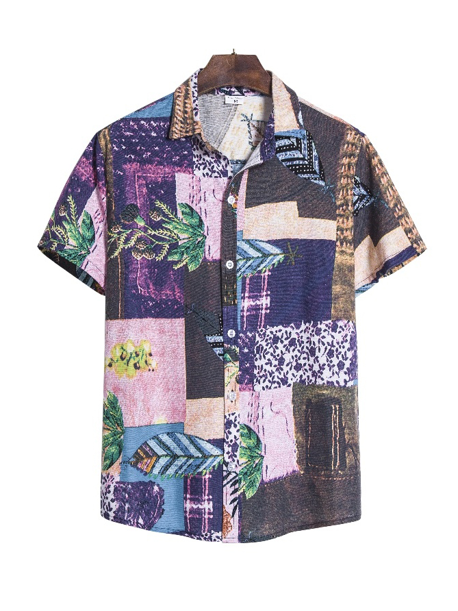 Vintage Printed Short Sleeve Button Up Shirts