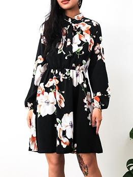 Flower Printed Tie Neck Women Long Sleeve Dress