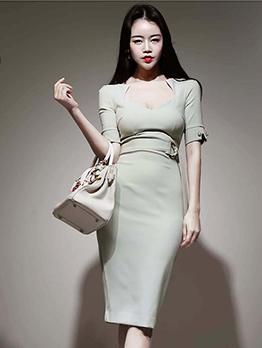 OL Style Solid Slim Fit Short Sleeve Dress