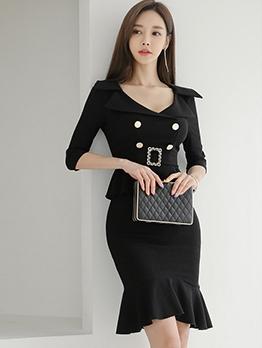 Elegant Ruffled Half Sleeve Black Dress