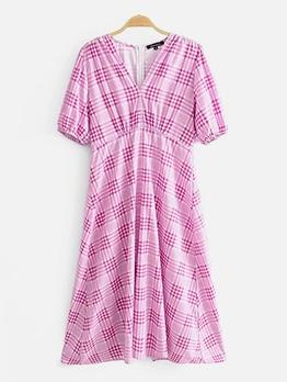 Stylish v Neck Plaid Summer Dresses