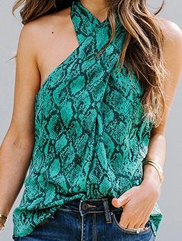 Stylish Snake Print Sleeveless Tank Top