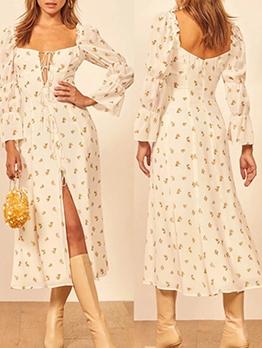 High Slit Printed Long Sleeve Midi Dress