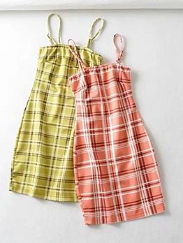 Slim Fit Plaid Camisole Mini Summer Dresses