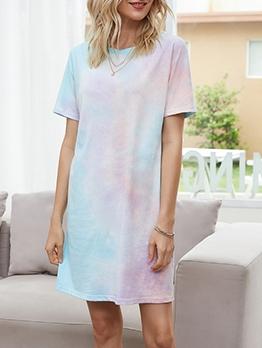 Gradient Color Short Sleeve T-Shirt Dress