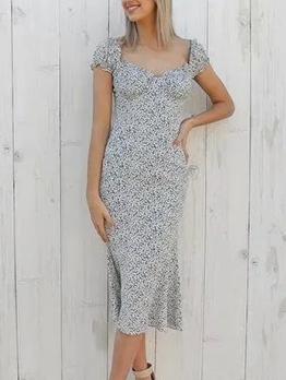 Vintage Printed Ditsy Printed Short Sleeve Dress