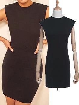 Slim Fit Solid Sleeveless Bodycon Dress