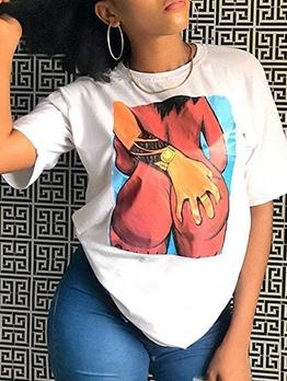 Crew Neck Printed Short Sleeve Tee Shirt
