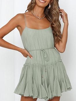 Beach Solid Ruffled Slip Casual Dresses