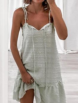 Casual Solid v Neck Sleeveless Summer Dresses