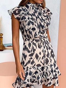 Leopard Printed Mock Neck Wrap Dress