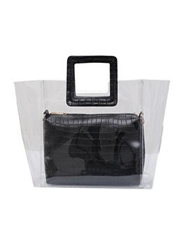 Square Handle Stone Grain 2 Piece Transparent Handbag