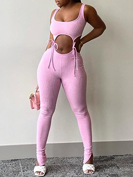 Solid Color U Neck Lace-Up Skinny 2 Piece Tracksuit Set