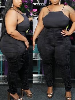 Plus Size Spaghetti Strap Black Pleated Skinny Jumpsuit