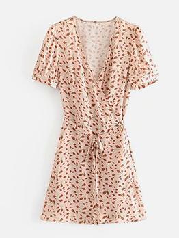 Vintage Style Floral Short Sleeve Wrap Dress