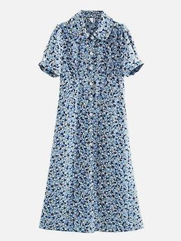 Single-Breasted Floral Blue Short Sleeve Shirt Dress