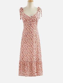 Backless Tie Wrap Strap Floral Summer Dress