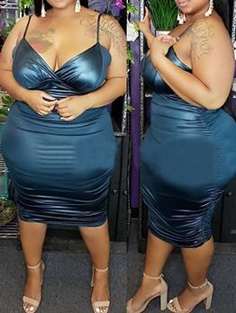 Glossy Color Spaghetti Strap Summer Plus Size Dresses