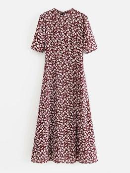 Vintage Style Floral Short Sleeve Chiffon Maxi Dress