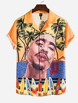 Street Wear Men Printed Short Sleeve Shirt