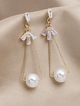 Chci Rhinstone Bow Triangle Faux Pearl Long Earrings