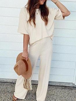 Summer Solid Short Sleeve Loose Loungewear