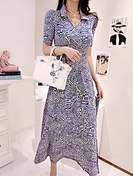 Retro Ditsy Printed Short Sleeve Maxi Dresses