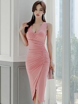 Deep v Solid Ruched Slit Sleeveless Dress
