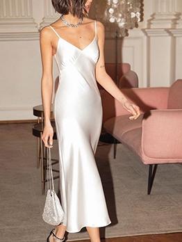 Glossy Satin v Neck Slip Midi Dress