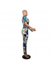 Multi Color Cartoon Print Short Sleeve Two Piece Pants Set